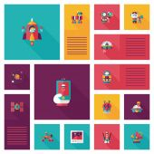 Space ui flat design background set, eps10 — Stock Vector