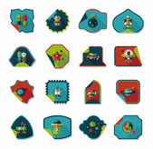 Space stickers banner flat design background set, eps10 — Vector de stock