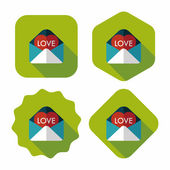 Valentine's day love letter flat icon with long shadow,eps10 — Vettoriale Stock
