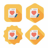 Valentine's day love letter flat icon with long shadow,eps10 — Stockvector