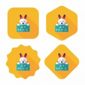 Happy birthday rabbit card flat icon with long shadow,eps10 — Vector de stock