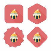Ciastko płaskie ikona z długim cieniem, eps10 — Wektor stockowy