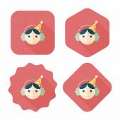 Birthday party boy flat icon with long shadow,eps10 — Stock Vector