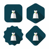 Wedding dress flat icon with long shadow,eps10 — Stock Vector