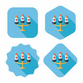 Wedding candle holder flat icon with long shadow,eps10 — Stock vektor
