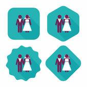 свадебный символ квартиры пары с длинной тенью, eps10 — Cтоковый вектор