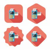 Shopping credit card machine flat icon with long shadow,eps10 — 图库矢量图片