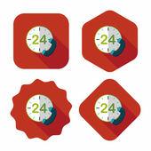 Icona di piatto di servizio al cliente telefono 24 ore su 24 con ombra lunga, eps10 — Vettoriale Stock
