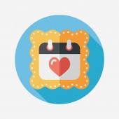 Wedding day calendar flat icon with long shadow,eps10 — Vetor de Stock