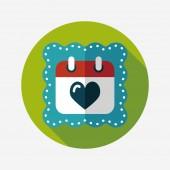 Wedding day calendar flat icon with long shadow,eps10 — Cтоковый вектор