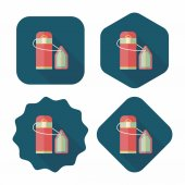 Vacuum flask flat icon with long shadow,eps10, hot water bottle — Stok Vektör