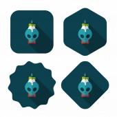 Ikona świeca płaski długi cień, eps10 czaszki — Wektor stockowy
