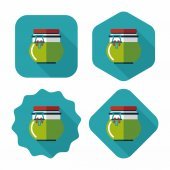 Kitchenware preserving container flat icon with long shadow,eps1 — Stock Vector