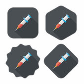 Syringe flat icon with long shadow  — Stock vektor