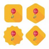 Wedding balloons with diamond rings flat icon with long shadow,e — Stockvektor