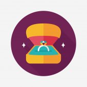 Propose diamond ring flat icon with long shadow,eps10 — Vector de stock