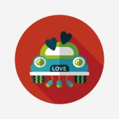 Wedding car flat icon with long shadow, eps10 — Stockvektor