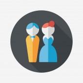 Wedding couple flat icon with long shadow,eps10 — Stockvektor