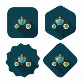 Wedding carriage flat icon with long shadow,eps10 — Vector de stock