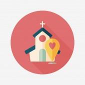 Wedding church flat icon with long shadow,eps10 — Stockvektor