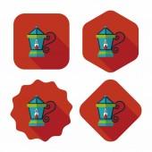 Christmas lantern flat icon with long shadow,eps10 — Stock Vector