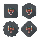 Christmas candle flat icon with long shadow,eps10 — Stock Vector