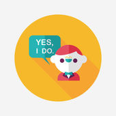 Wedding yes i do words from groom flat icon with long shadow,eps — Wektor stockowy