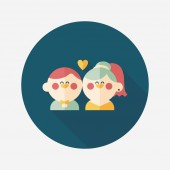 Wedding couple flat icon with long shadow,eps10 — Vettoriale Stock