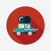 Wedding car flat icon with long shadow, eps10 — Vettoriale Stock