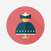 Wedding dress flat icon with long shadow,eps10 — Stockvector