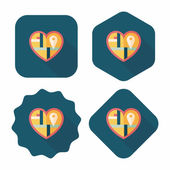 Heart shaped wedding invitation flat icon with long shadow,eps10 — Wektor stockowy