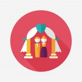 Wedding ceremony flat icon with long shadow,eps10 — Cтоковый вектор
