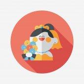 Wedding bride flat icon with long shadow,eps10 — Stock Vector