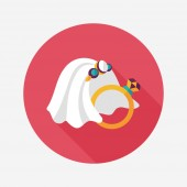 Bride veil and diamond ring flat icon with long shadow,eps10 — Cтоковый вектор