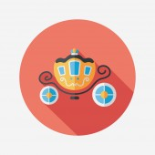 Wedding carriage flat icon with long shadow,eps10 — Cтоковый вектор