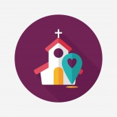 Wedding church flat icon with long shadow,eps10 — Cтоковый вектор
