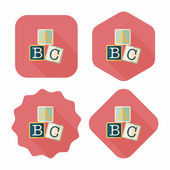 ABC blocks flat icon with long shadow,eps10 — Stock Vector