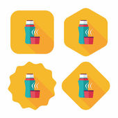 Vacuum flask flat icon with long shadow,eps10, hot water bottle — Stock Vector