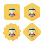 Coffee shop clerk flat icon with long shadow,eps10 — Vetor de Stock