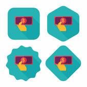 Icona piana di contanti di soldi acquisto con ombra lunga, eps10 — Vettoriale Stock