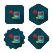 Valentine's day love letter flat icon with long shadow,eps10 — Cтоковый вектор