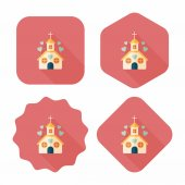 Valentine's Day wedding church flat icon with long shadow,eps10 — Stock Vector