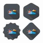 Sun and Cloud flat icon with long shadow,eps10 — Stock Vector