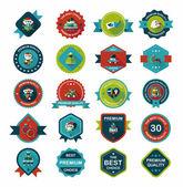Wedding badge banner flat design background set, eps10 — Stock Vector