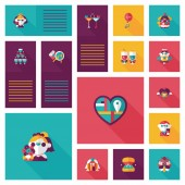 Wedding ui flat design background set, eps10 — Stock Vector