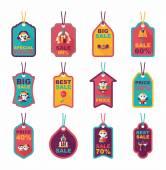 Wedding tag flat design background set, eps10 — Stock Vector