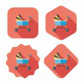 Baby cradle bed flat icon with long shadow,eps10 — Cтоковый вектор