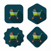 Baby cradle bed flat icon with long shadow,eps10 — Stock Vector