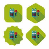 与长长的影子,eps10 玩具麦克风平面图标 — 图库矢量图片