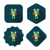 Teddy bear flat icon with long shadow,eps10 — Stock Vector